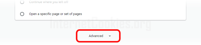 Chrome advanced settings item