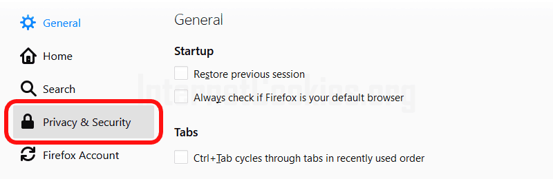 Firefox privacy and security settings item