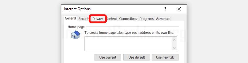 Internet Explorer settings popup